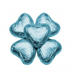 100 Chocolate Hearts in Light Blue Foil - 500 gr