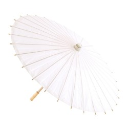 White Parasol in Paper & Bamboo d80